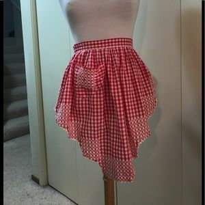 Vintage Red, Hand-Stitched Gingham Apron